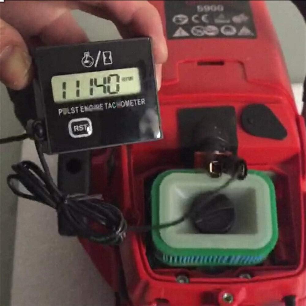 HONYGE LXGANG Tacómetro Motor de Gasolina MOTER de inducción de Velocidad de rotación tacómetro Digital Contador de Horas de Estilo de edición Impermeable Motosierra Motocicleta