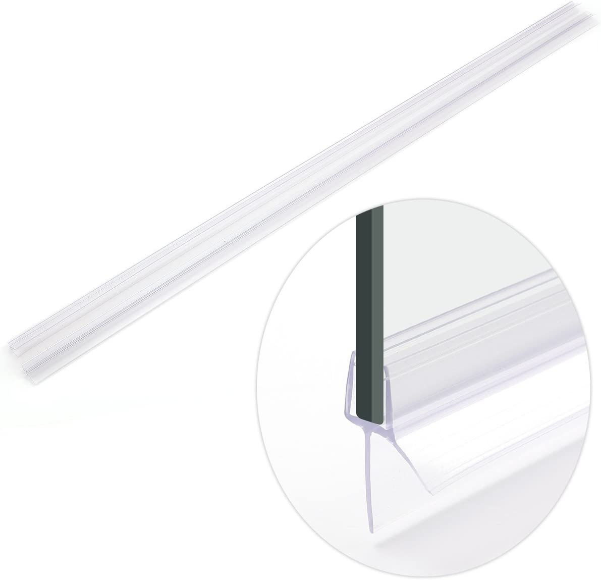 Junta para Mampara de Ducha PVC Burlete mampara de baño Ducha Vierteaguas para Vidrio de 4-6-8mm 2pcs 90cm(para Vidrio 6-8mm): Amazon.es: Hogar