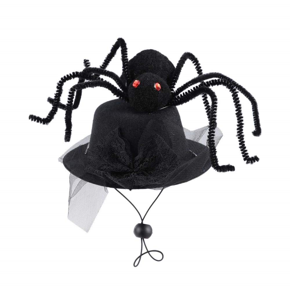 WINNER POP Halloween Pet Spider Hat, Black Hat Spider Decoration for Dogs and Cats Funny Party Halloween Headdress Role Playing Accessories,2pcs, Spider