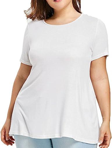 SHJIRsei Camisetas Mujer, Camiseta de Talla Grande Manga Corta O-Cuello Moda Verano Blusas de Volantes con Volantes de Encaje Camiseta Corta Mujer Top Blusas Suelto: Amazon.es: Ropa y accesorios