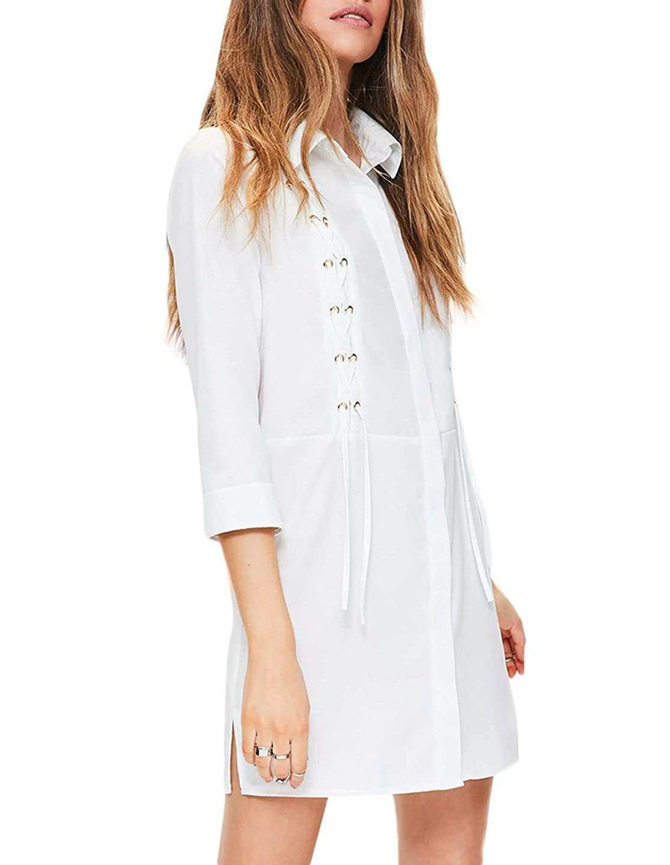 Richlulu Womens Boyfriend Lace Up Front Side Slit Roll Sleeve Shirt