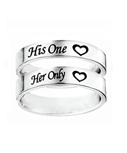 Aokarry His&Her 6MM Couple Ring, Stainless Steel His One and Her Only Ring Women Size 5