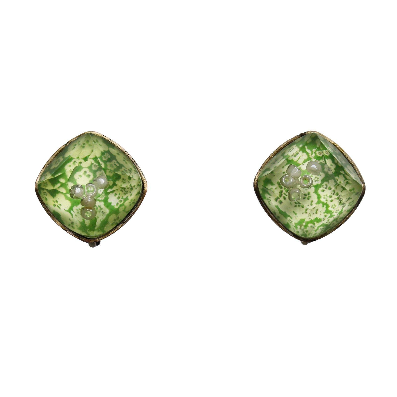 Tamarusan Earring Clip Type Screw Type Hand Made Resin Plum Green Tea by TAMARUSAN
