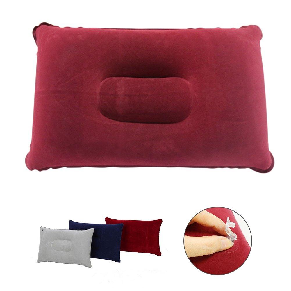 Ndier coj/ín Hinchable de Viaje Juego de 2/pcs Almohadas de Acampada Ligero y Port/átil para Actividad al Abierto Morado Oscuro y Rojo Rosa