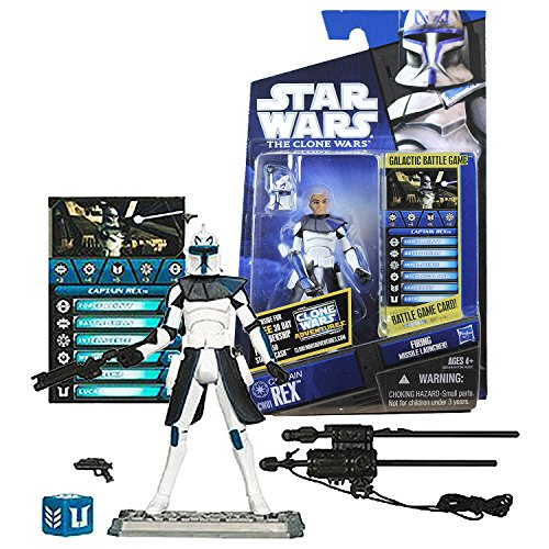 Star Wars Year 2010 Galactic Battle Game The Clone Wars Series 4 Inch Tall Figure - CAPTAIN REX CW01 with Helmet, Blaster, Rifle, Missile Launcher, Battle Game Card, Die and Display Base]()