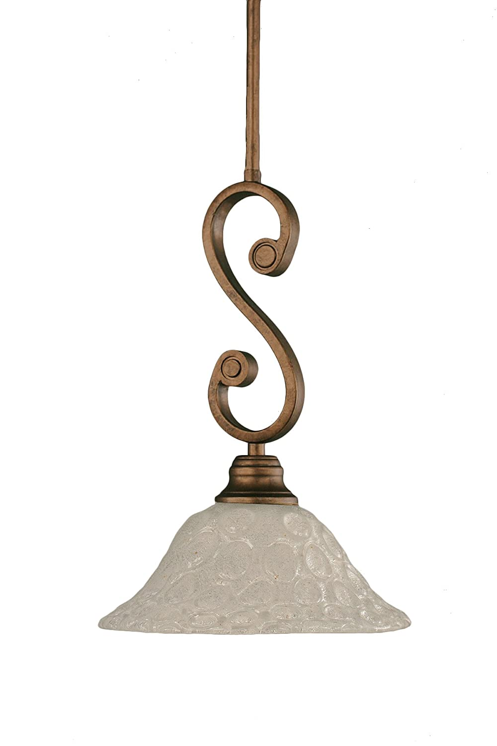 Toltec Lighting 50-BRZ-434 Curl Mini-Pendant Light Bronze Finish with Firr/é Saturn Glass 10-Inch