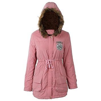 35f868a8a9959 SODIAL(R) Mujer Abrigo largo de acolchado grueso de invierno de piel  encapuchado Ropa exterior Chaqueta -Rosa-S  Amazon.es  Deportes y aire libre