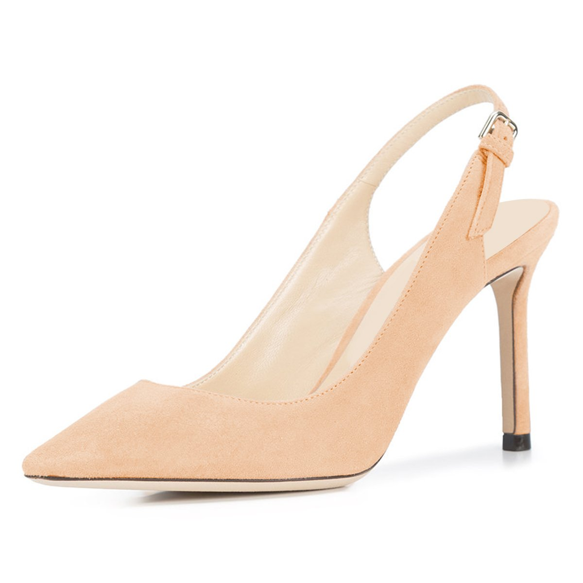 NJPU Women Pointed Toe Slingback Pumps Stiletto High Heels Office Shoes with Buckle B07C2QVPCV 11 B(M) US|Nude