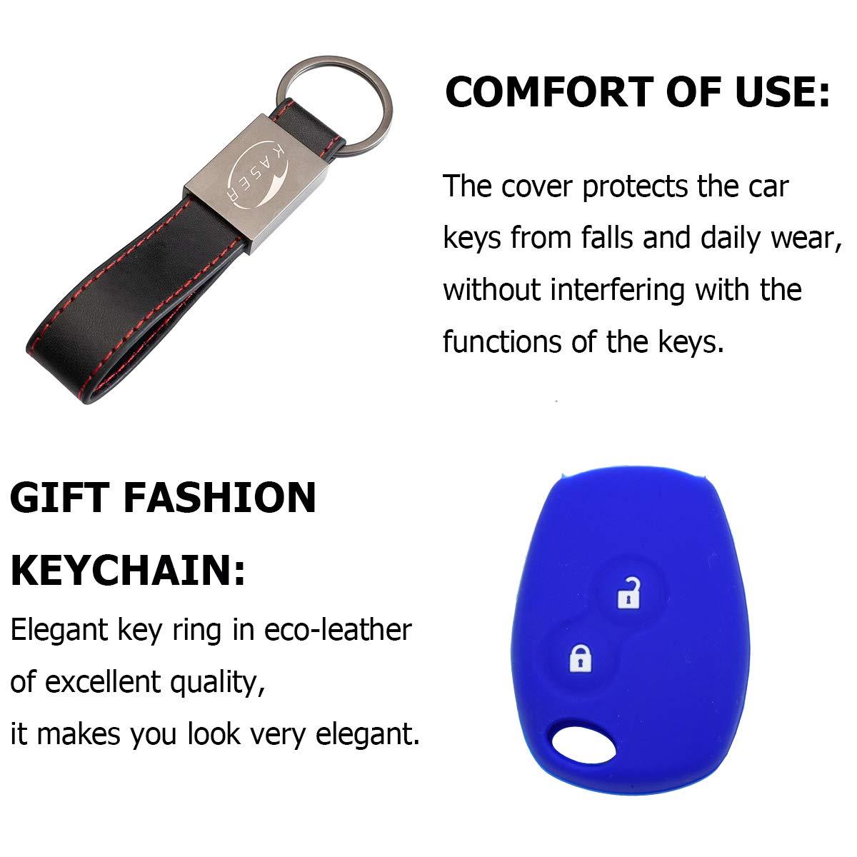 Azul Funda Silicona para Llave Renault Carcasa Llaveros para Coche Renault Clio Kangoo Modus Twingo Laguna Master Megane Cover Case Protecci/ón Mando Distancia Auto