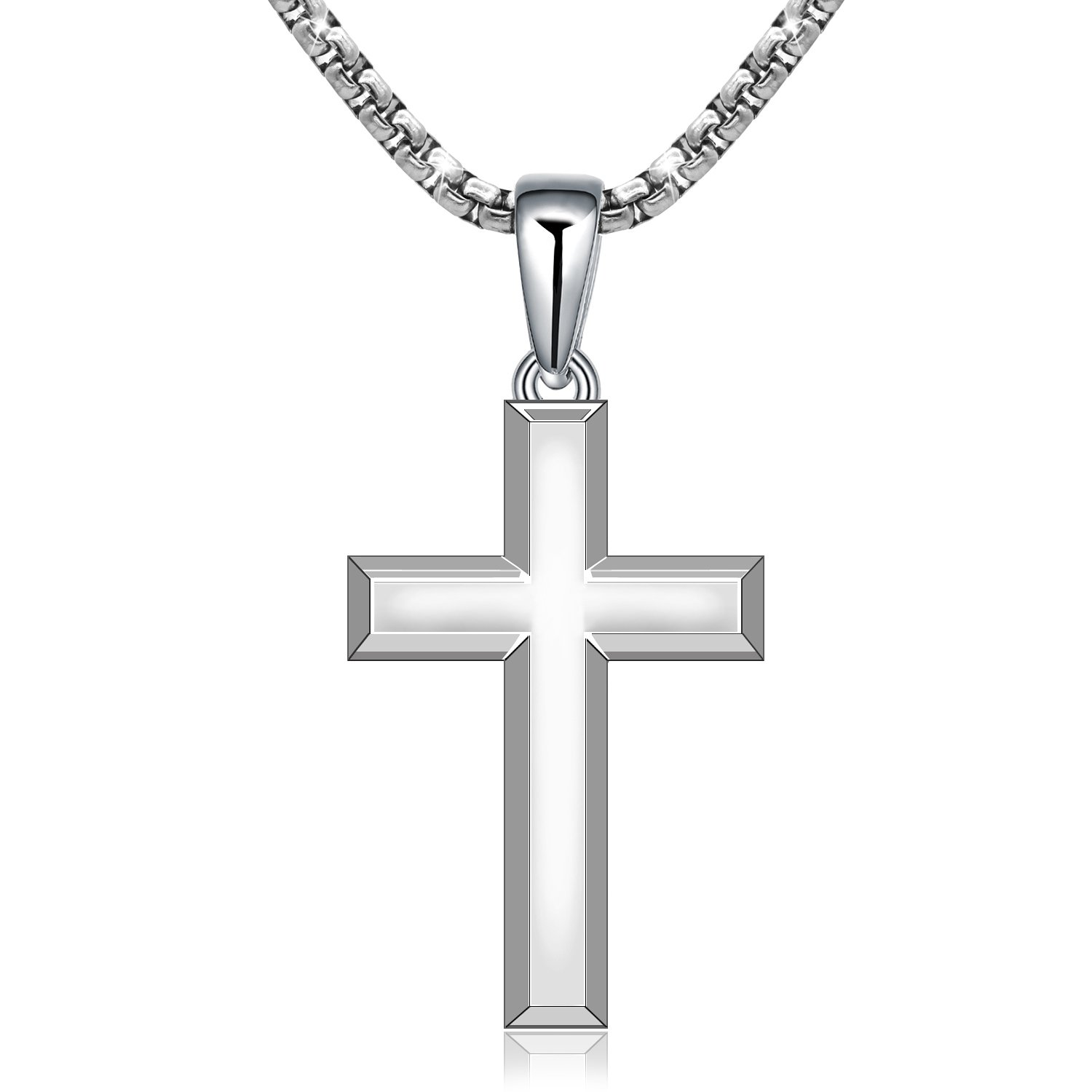 Amazon.com  MONBO Cool Cross Pendant Long Necklace Classic High Polish Sterling  Silver Cross Pendant Necklace for Men Women (51mm28mm(2.01.1in) 86a74ec99