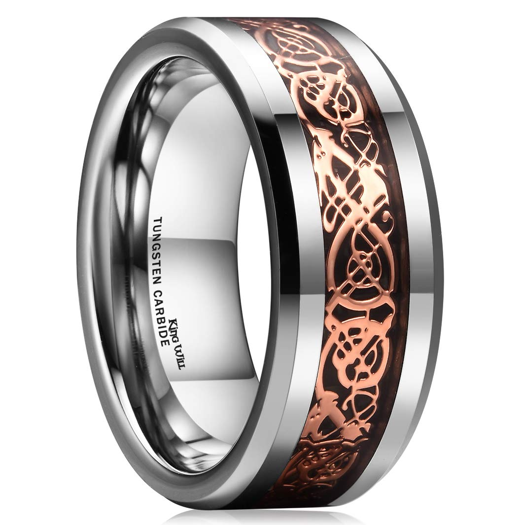King Will Dragon 8mm Rose Gold Plated Celtic Dragon Tungsten Carbide Wedding Band Ring Comfort Fit 8.5