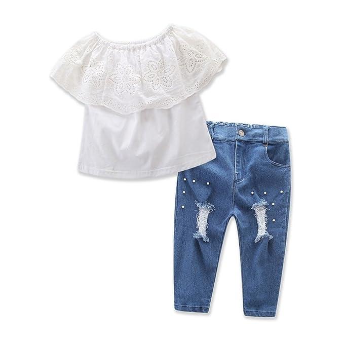 Brightup Bebé Niña Niños Fuera del hombro Tops + Pantalones de mezclilla, Blusa de encaje