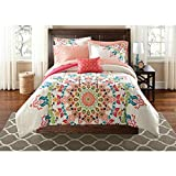 OS 8 Piece Girls Medallion Motif Comforter Queen Set, Elegance Boho Chic Hippy Floral Bedding, Bohemian Textural Mandala Pattern, Tribal Southwest Indian Native, Abstract Colors Coral Pink Blue Green