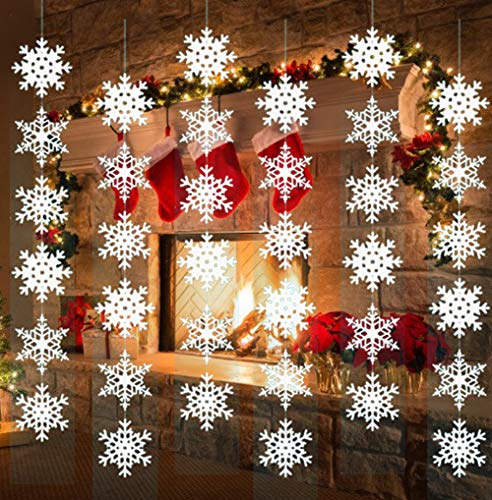 AISENO Christmas Snowflake Decorations Hanging Winter Decorations Chrismas Ornaments Christmas Hanging White Party Decor Supplies -