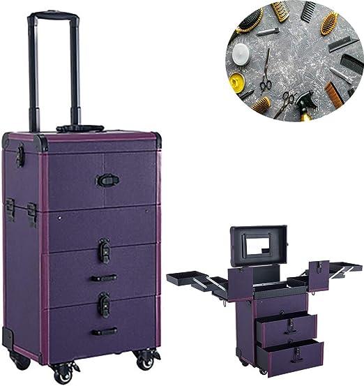 Wensa Trolley de Rueda de Maquillaje, Estuches cosméticos de Gran Capacidad, Kit de Herramientas de Almacenamiento de Arte de uñas, con bandejas retráctiles y cajón Deslizante Liso,Purple: Amazon.es: Hogar