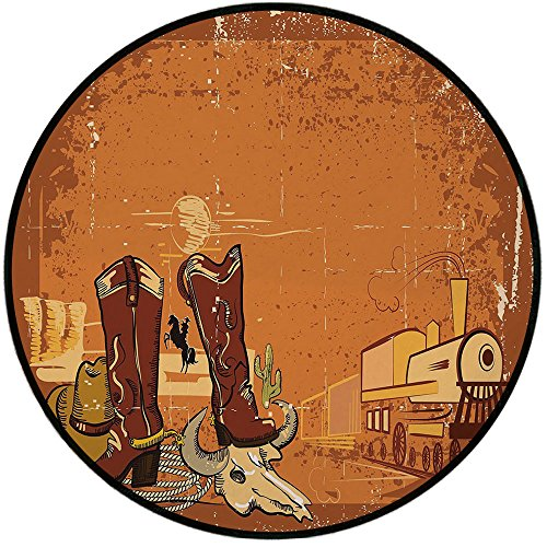 Printing Round Rug,Western,Grungy Display of Locomotive Traditional Boots Animal Skull Rope Hat Decorative Mat Non-Slip Soft Entrance Mat Door Floor Rug Area Rug For Chair Living Room,Dark Orange Brow