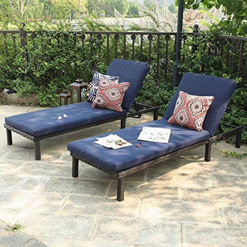 PHI VILLA Outdoor 2-Piece Chaise Lounge Chair- Patio Wicker Sun Lounger