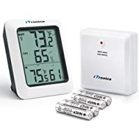iTronics Digital Wireless Hygrometer Indoor Outdoor Thermometer Wireless Temperature and Humidity Monitor with Jumbo Touchscreen and Backlight Humidity Gauge
