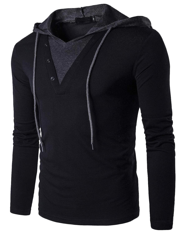 8758cf9e56 Amazon.com: Tyhengta Men's Casual Long Sleeve T Shirt Slim Fit Henley Hoodie  Shirts: Clothing