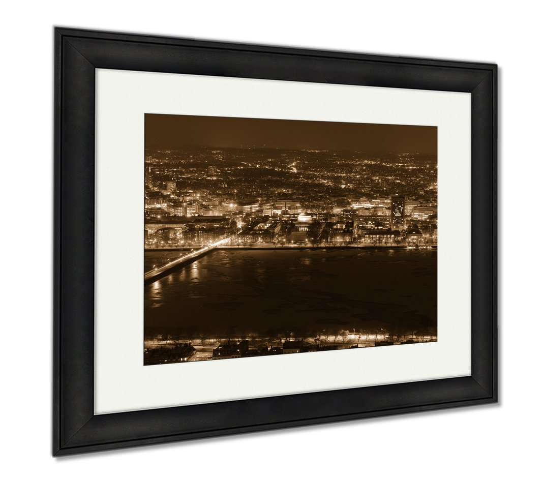 Ashley Framed Prints Mit Campus On Charles River Bank Boston, Modern Room Accent Piece, Sepia, 34x40 (frame size), Black Frame, AG6020374