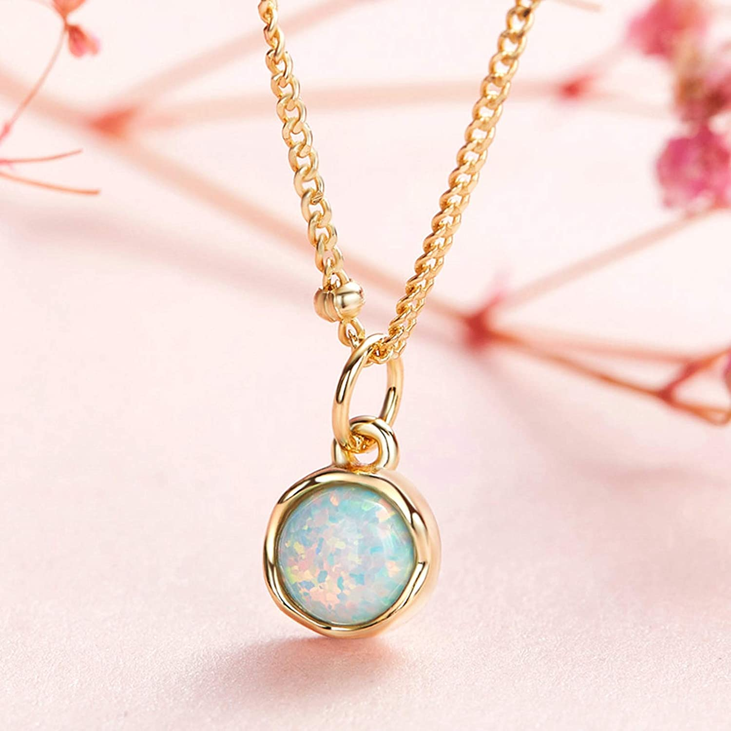 Aooaz Silver Material Necklace Womens Girls Circle Round Stone Pendant Necklaces Anniversary