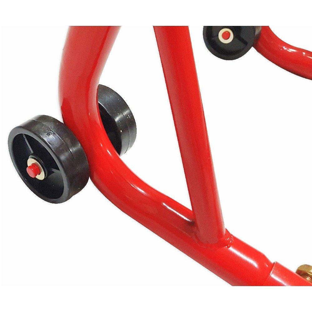 barre di rinforzo sui lati e ruote in gomma portata 300 kg Cruizer Cavalletto anteriore per moto con pinze