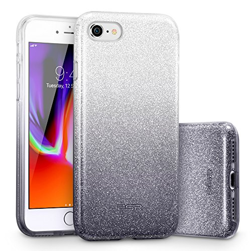 ESR iPhone 8 Case, iPhone 7 Case, Glitter Case Bling Sparkle Three Layer Shockproof Soft TPU Outer Cover + Hard PC Inner Protective Shell Cover for Apple 4.7 (2017 &2016 Release)(Ombre Onyx)
