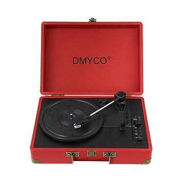 Tocadiscos Bluetooth, dmyco Tocadiscos Tocadiscos maleta vintage ...