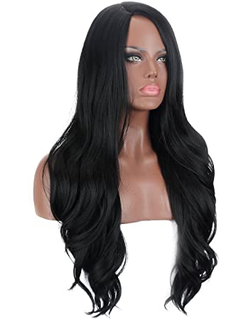 Kalyss Long Wavy Curly Black 1B Yaki Synthetic Wig for Women Side L Parting  Heat Resistant aae1f5bcaff0