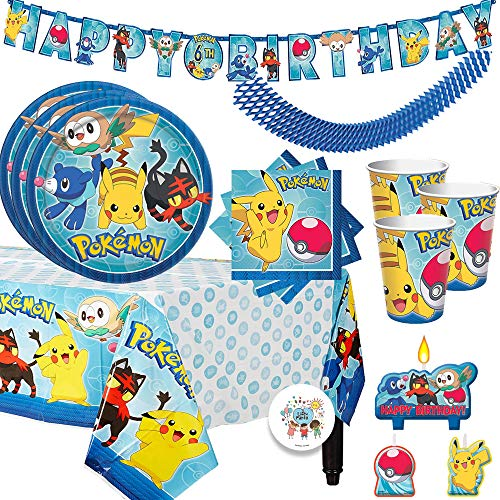 Pokemon Birthday Party Supplies Pack For 16 Guests With Plates, Beverage Napkins, Tablecover, Candles, Cups, Add An Age Birthday Banner, Plus Exclusive Pin By Another Dream