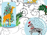 Pack of 1, Holiday Safari 18'' x 417' Half Ream Gift Wrap (Metallized) for Holiday, Party, Kids' Birthday, Wedding & Special Occasion Packaging