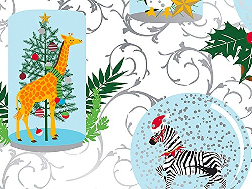 Pack of 1, Holiday Safari 18'' x 417' Half Ream Gift Wrap (Metallized) for Holiday, Party, Kids' Birthday, Wedding & Special Occasion Packaging by Generic