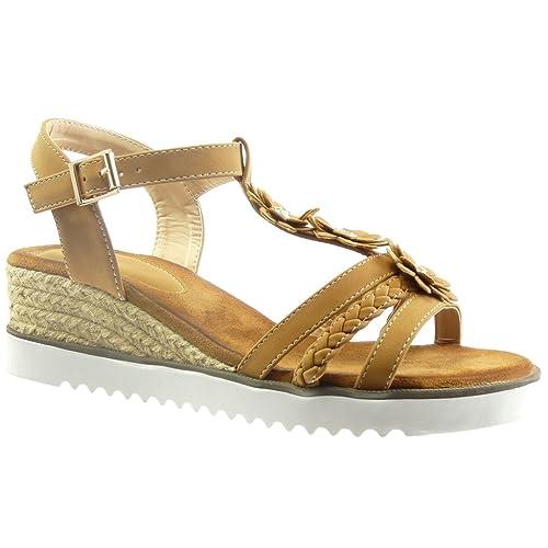 Angkorly Zapatillas Moda Sandalias Alpargatas Correa Plataforma Abierto Mujer Flores Strass Cuerda Talón Plataforma 4.5 cm: Amazon.es: Zapatos y ...