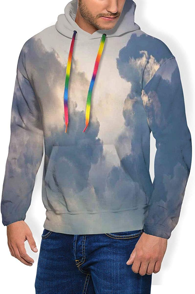Men's Hoodie Thicken Fluff Sweatshirt,Majestic Rain Storm Clouds Over The Sky High Above The Ground Environment Scenery L