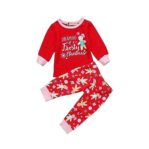 honganda cute toddler infant baby girl christmas pajamas setlong sleeve t shirt tops - Girl Christmas Pajamas