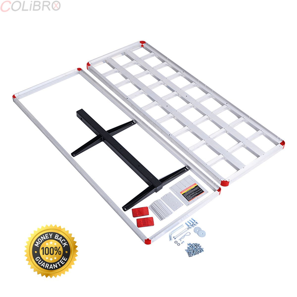 COLIBROX--60'' x 22'' Aluminum RV 2'' Hitch Mount Cargo Carrier Truck Luggage Basket 500LBS--Material: Aluminum Dimension:60''x 22''x7'' (L x W x H) Weight Capacity: 500lbs Weight:20 lbs