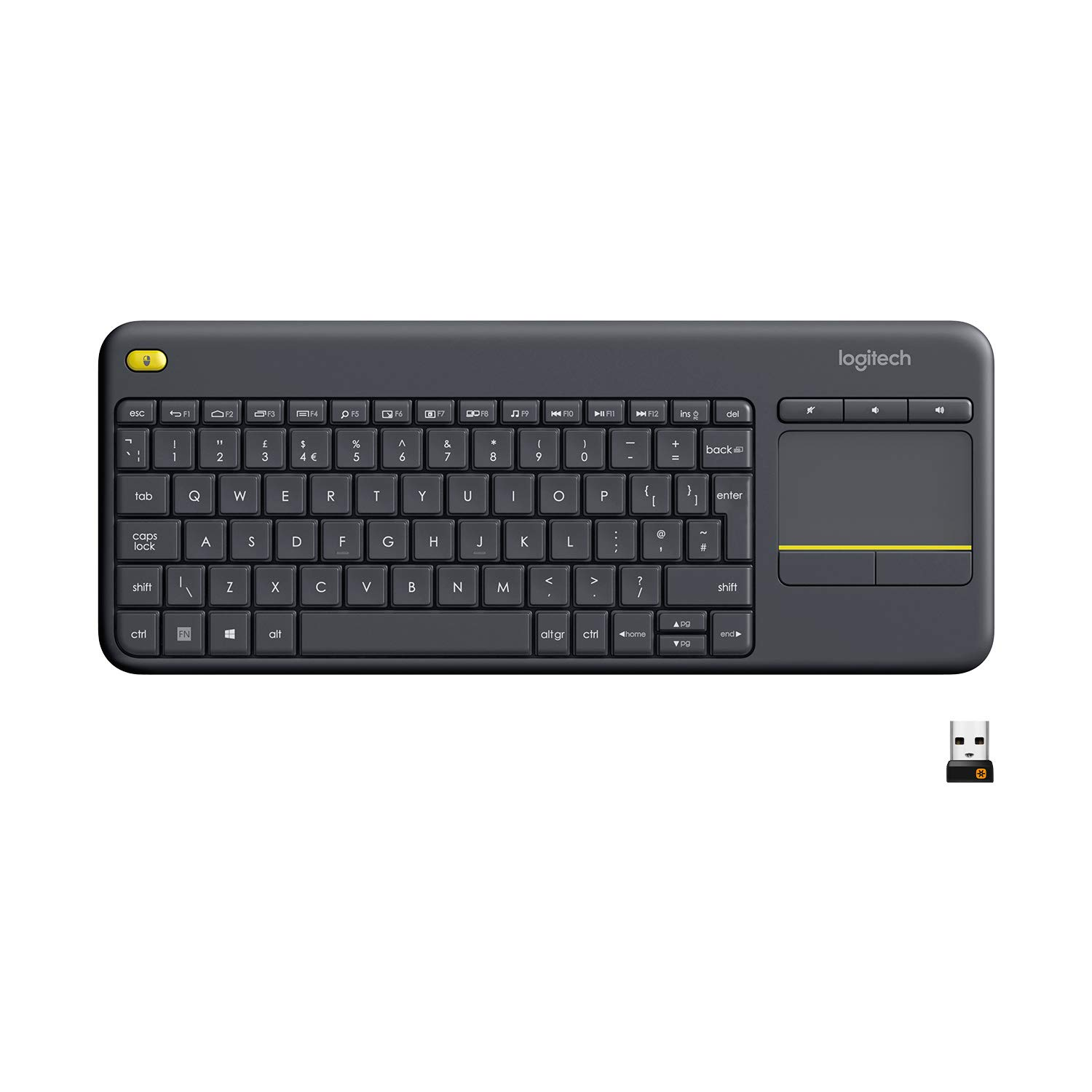 Logitech K400 Plus Wireless Livingroom Keyboard with Touchpad for Home Theatre PC Connected to TV, Customizable Multi-Media Keys, Windows, Android, Laptop/Tablet, QWERTY UK Layout - Black