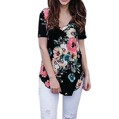 c6d0c91b3486 Women T-Shirt Ladies Short Sleeve Summer Floral Print Curved Hem Basic  Tunic Tops Blouse