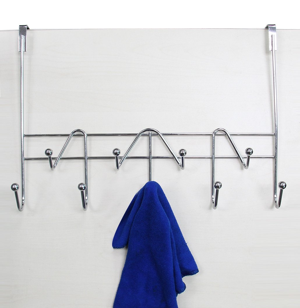 Amazon.com: ESYLIFE Hooks Over The Door Hook Organizer Rack Hanging Towel  Rack Over Door, 9 Hooks, Chrome Finish: Office Products