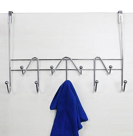 ESYLIFE Hooks Over The Door Hook Organizer Rack Hanging Towel Rack Over Door,  9 Hooks