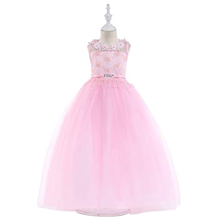 Amazon.com  NOMSOCR Kids Lace Costume Long Dress Girl Prom Ball Gown  Christmas Party Dresses (11-12 Years 5271e873ae01
