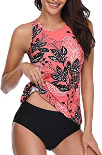 Swimsuits for Women,Tankini Backless Floral Printed Swimwear Bathing Suits Plus Size Two Pieces Swimsuit Set Yamally