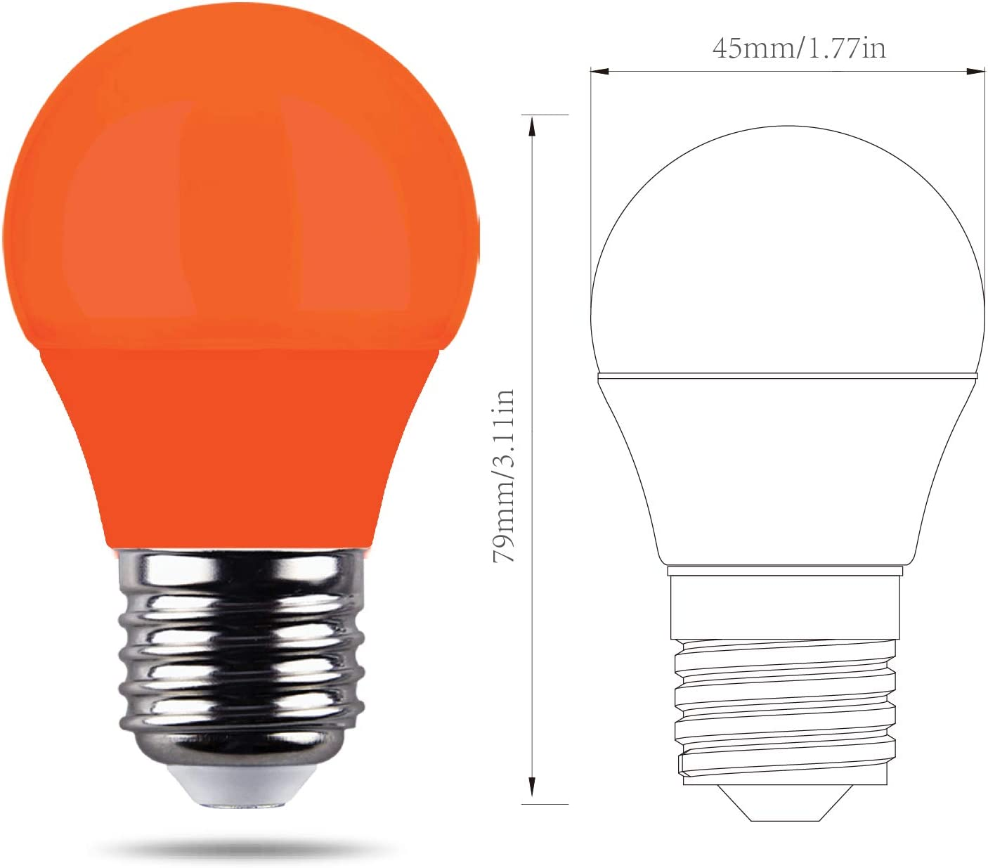 REPSN/® LED 4W E14 Orange Coloured Decoractive Mini Golfball Light Bulb for Outdoor Indoor Home Decor,Halloween,Christmas,Tree,Fairy Party Night Lights,Pack of 6