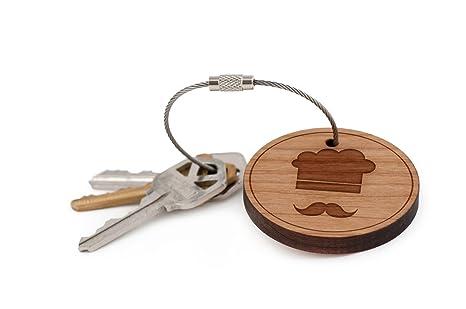 Amazon.com : Chef Keychain, Wood Twist Cable Keychain ...