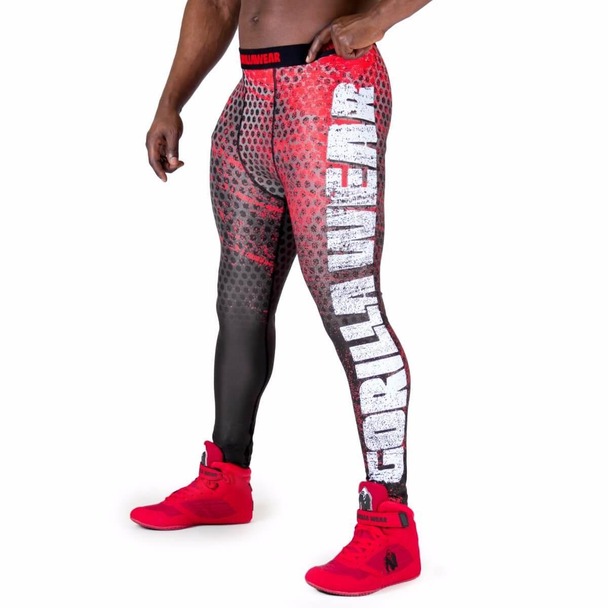 Gorilla Wear Bruce Men's Tights - schwarz/rot - Bodybuilding und Fitness Bekleidung Herren