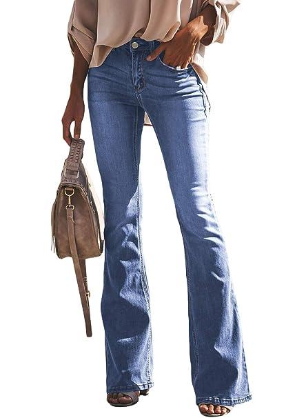 26c6862b427b51 Aleumdr Donna Jeans a Zampa Pantaloni a Vita Alta Elasticizzati: Amazon.it:  Abbigliamento