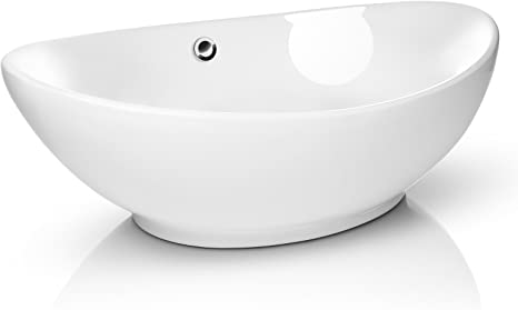 Amazon Com Miligore 23 X 15 Oval White Ceramic Vessel Sink Modern Egg Shape Above Counter Bathroom Vanity Bowl Home Kitchen