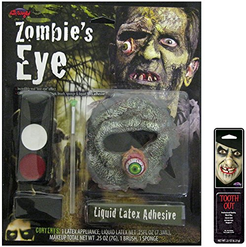 Zombie Makeup Liquid Latex (Bundle: 2 Items - Eye Zombie Makeup Kit with Free Pack of Makeup)