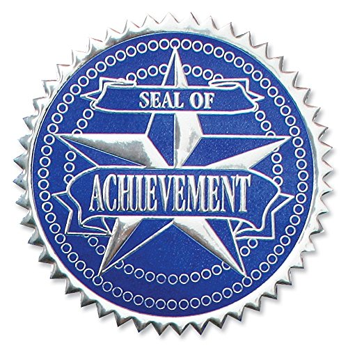 Embossed Achievement Silver/Blue Certificate Seals, 102 Pack