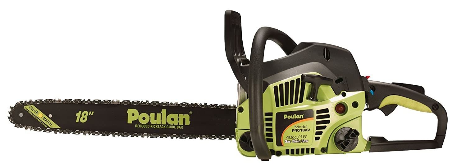 Amazon.com : Poulan P4018 18-Inch 40cc 2-Cycle Gas-Powered Easy Start Chain  Saw with Case (Discontinued by Manufacturer) : Poulan Chainsaw : Garden &  ...